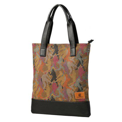 New Contrast PU Leather Print Canvas Tote Bag - COLORMIX  Mobile