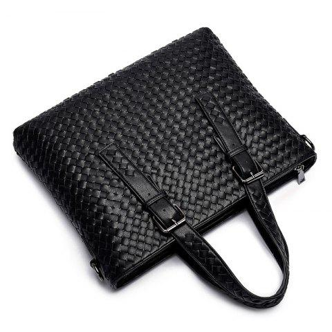 Affordable Buckle Straps Woven Tote Bag - BLACK  Mobile