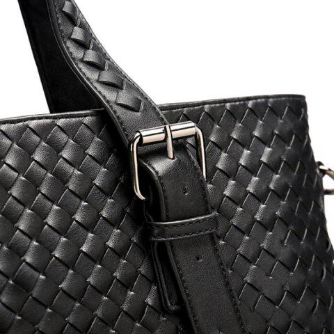 Best Buckle Straps Woven Tote Bag - BLACK  Mobile