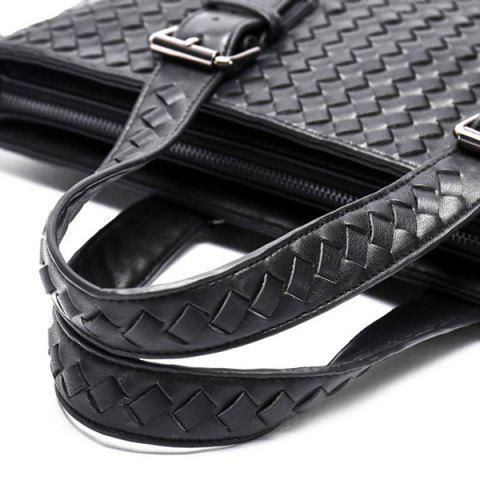 Hot Buckle Straps Woven Tote Bag - BLACK  Mobile