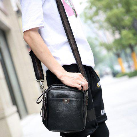Affordable PU Leather Zips Crossbody Bag - BLACK  Mobile