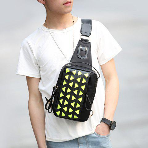 Affordable Triangle Print Nylon Crossbody Bag - BLACK  Mobile