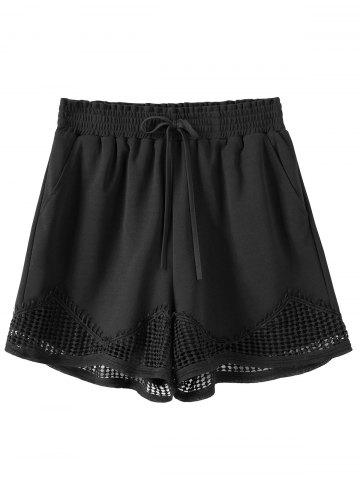 Online Plus Size Crochet Panel Elastic Waist Shorts BLACK 2XL