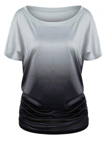 Shop Ombre Shirred Side Plus Size Long T-Shirt BLACK AND GREY 3XL