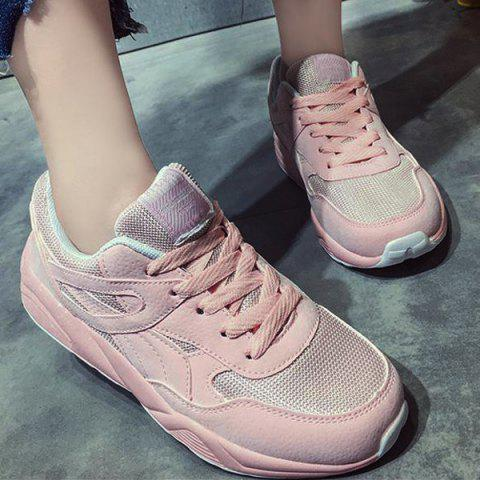 Affordable Breathable Mesh Athletic Shoes - 38 LIGHT PINK Mobile