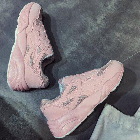 Fashion Breathable Mesh Athletic Shoes - 38 LIGHT PINK Mobile