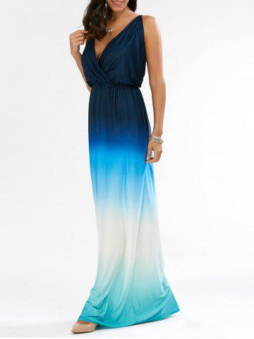 Cheap Ombre Plunge Long Backless Cocktail Maxi Dress BLUE M