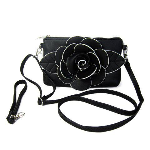 Sale Cross Body Flower Wristlet Bag BLACK
