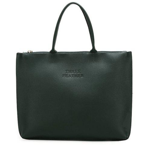 Chic Faux Leather Letter Embossed Tote Bag