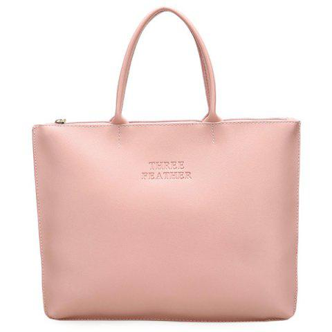 Affordable Faux Leather Letter Embossed Tote Bag