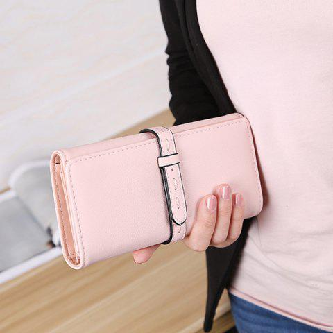 Outfit Strap Tri Fold Clutch Wallet - PINK  Mobile