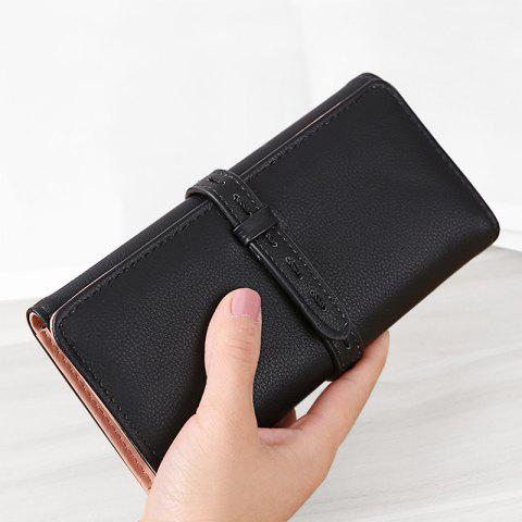 Strap Tri Fold Clutch Wallet - Black