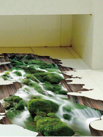 Store Home Decor Removable 3D Stream Floor Sticker - 50*70CM GREEN Mobile