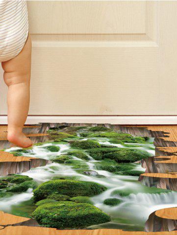 Fancy Home Decor Removable 3D Stream Floor Sticker - 50*70CM GREEN Mobile