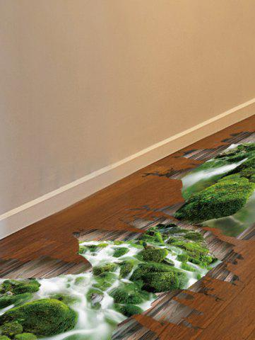 Outfit Home Decor Removable 3D Stream Floor Sticker - 50*70CM GREEN Mobile