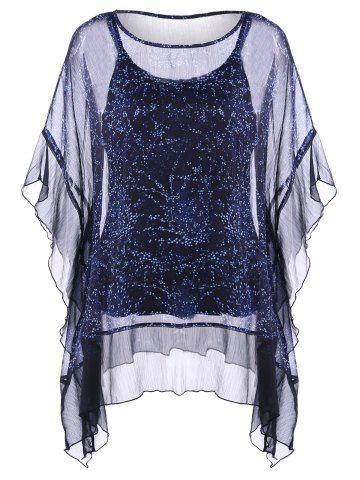 Chic Ruffle Dolman Sleeve Plus Size Sheer Blouse With Camisole Top PURPLISH BLUE 5XL