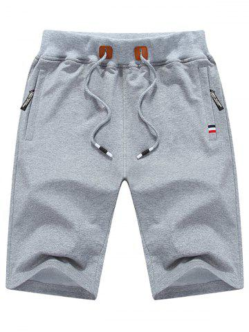 Shops Zip Up Pockets Lace Up Sweat Shorts - LIGHT GRAY 3XL Mobile