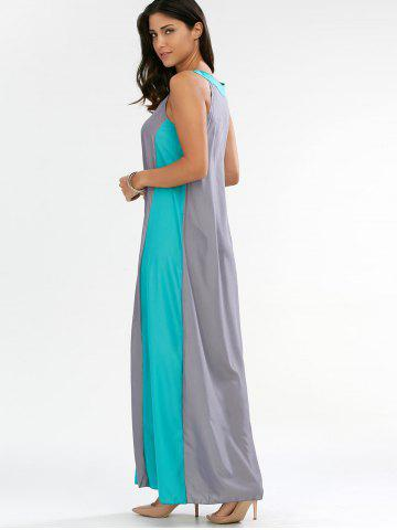 Outfits Sleeveless Two Tone Casual Maxi Dress - L GRAY Mobile