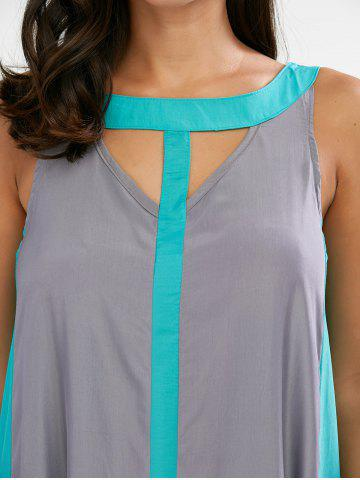 New Sleeveless Two Tone Casual Maxi Dress - L GRAY Mobile