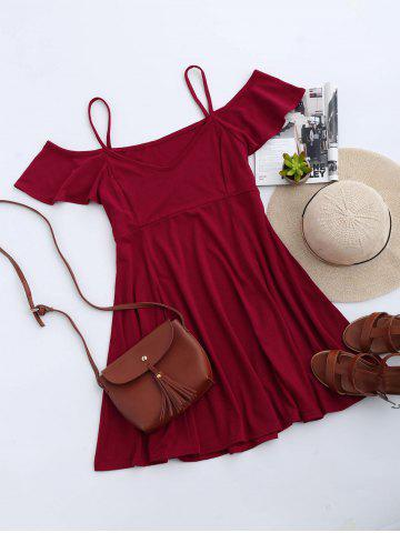 Online Cold Shoulder Skater Mini Casual Beach Dress RED M
