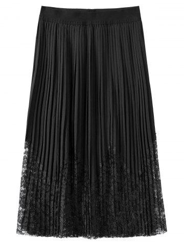 Unique Plus Size Lace Trim Pleated Skirt - 4XL BLACK Mobile