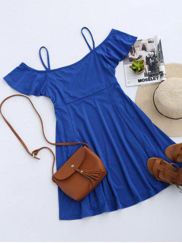 New Cold Shoulder Skater Mini Casual Beach Dress - XL BLUE Mobile
