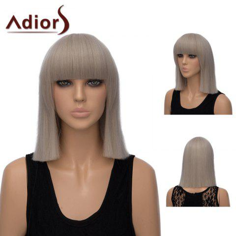 Buy Adiors Neat Bang Medium Straight Bob Synthetic Wig - PALE PINKISH GREY  Mobile