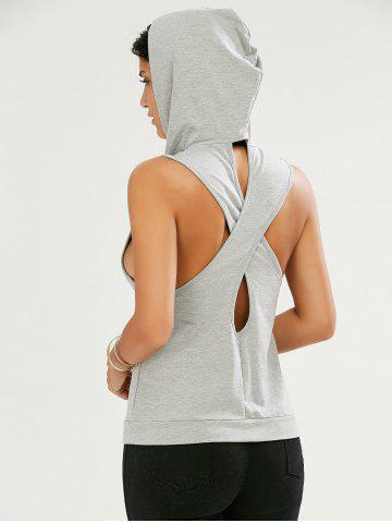 Affordable Sleeveless Cut Out Kangaroo Pocket Hoodie - S GRAY Mobile