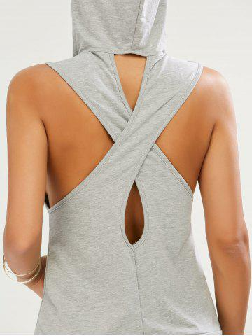 Unique Sleeveless Cut Out Kangaroo Pocket Hoodie - S GRAY Mobile