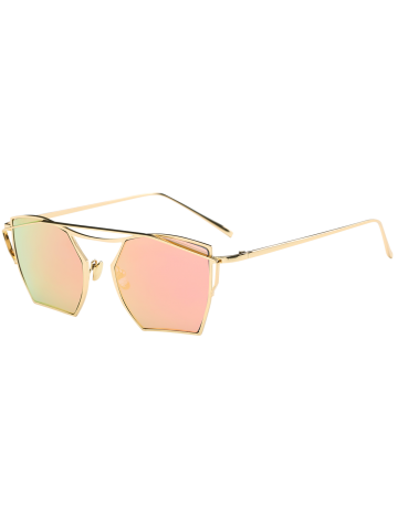 Chic Polygonal Cambered Metal Crossbar Mirror Sunglasses GOLD FRAME / PINK LENS