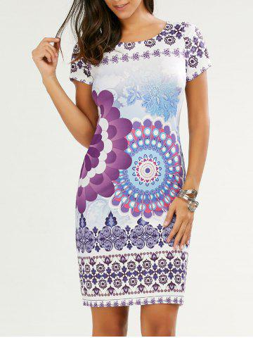 Hot Print Knee Length Day Dress FLORAL L