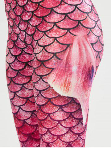 Latest Scale Allover Print Mermaid Leggings - M PINK Mobile