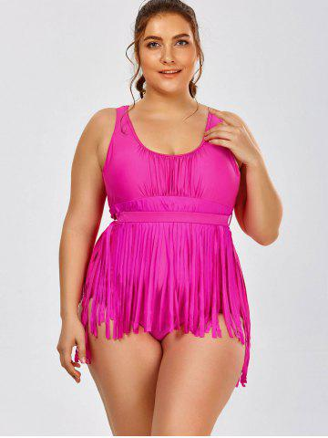 Outfits Scoop Neck Solid Color Tassels One-Piece Swimsuit For Women - 3XL ROSE Mobile