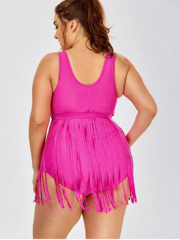 Shop Scoop Neck Solid Color Tassels One-Piece Swimsuit For Women - 3XL ROSE Mobile