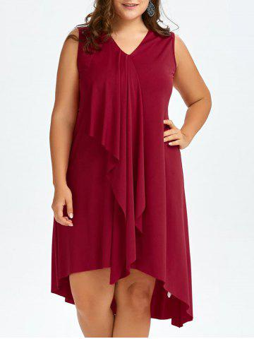 Shops Sleeveless Drape Front Plus Size Dress - 2XL WINE RED Mobile