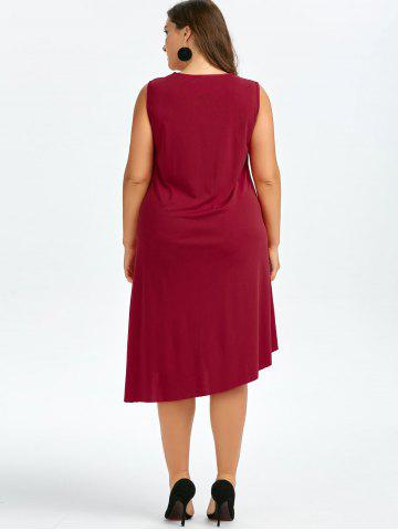 Outfits Sleeveless Drape Front Plus Size Dress - 2XL WINE RED Mobile