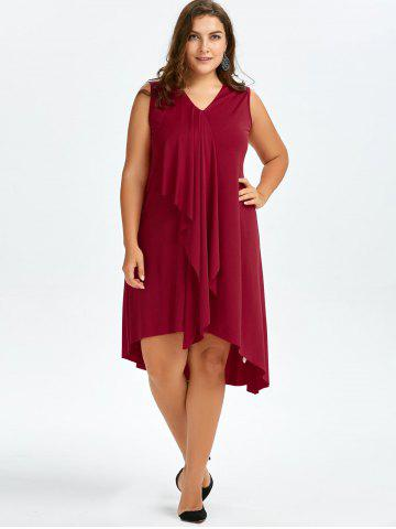 Outfit Sleeveless Drape Front Plus Size Dress - 2XL WINE RED Mobile