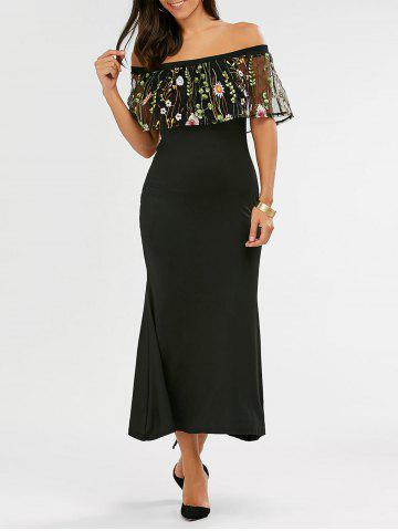 Cheap Fitted Long Embroidered Off The Shoulder Maxi Formal Dress BLACK S