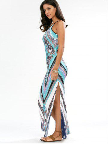 Outfits Keyhole Neck Floral Chevron Tall Maxi Dress - M CYAN Mobile