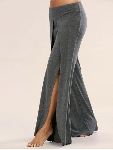 High Slit Palazzo Pants - Deep Gray - 2xl