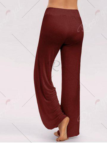 Outfit High Slit Palazzo Pants - M WINE RED Mobile