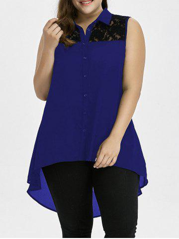 Outfit Plus Size Lace Insert High Low Top - 3XL BLUE Mobile