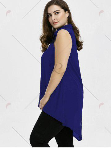 Discount Plus Size Lace Insert High Low Top - 3XL BLUE Mobile