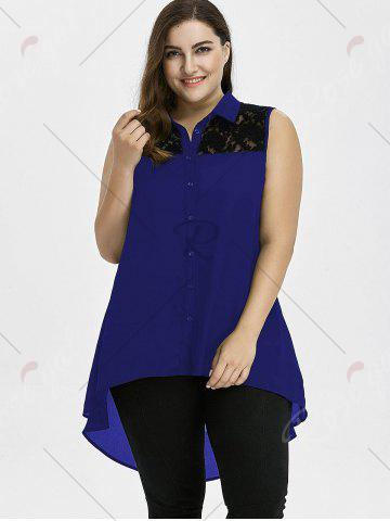 Online Plus Size Lace Insert High Low Top - 3XL BLUE Mobile
