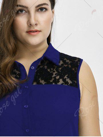 Unique Plus Size Lace Insert High Low Top - 3XL BLUE Mobile