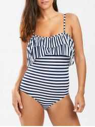 Flounced Stripe One Piece Swimsuit