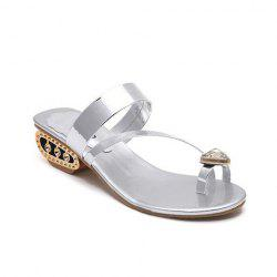Rhinestone Toe Ring Slippers - SILVER