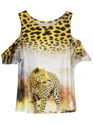 Cold Shoulder Leopard Print Tee