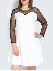 Plus Size Mesh Panel A Line Long Sleeve Dress