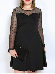 Long Sleeve Plus Size Mesh Panel Skater Dress